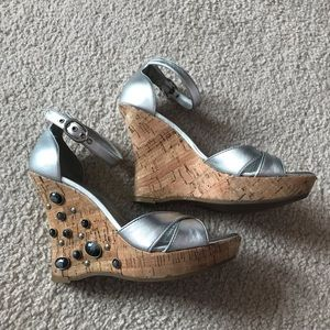 Vince Camuto Silver Wedges With Rhinestones